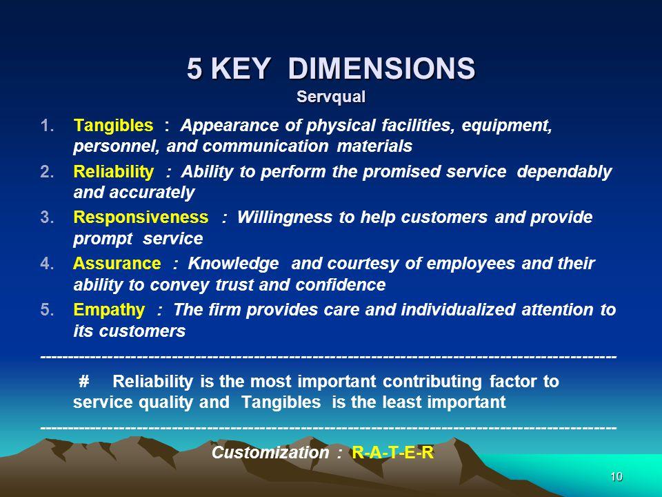 5 KEY DIMENSIONS Servqual