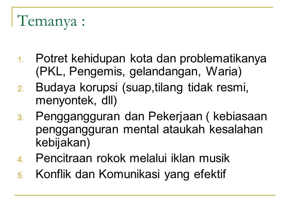 Temanya : Potret kehidupan kota dan problematikanya (PKL, Pengemis, gelandangan, Waria) Budaya korupsi (suap,tilang tidak resmi, menyontek, dll)