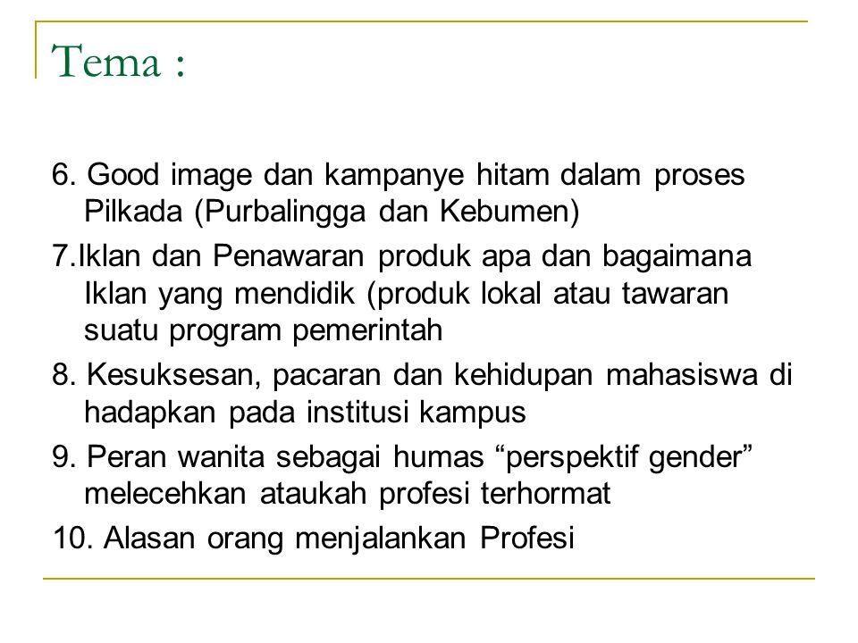 Tema : 6. Good image dan kampanye hitam dalam proses Pilkada (Purbalingga dan Kebumen)