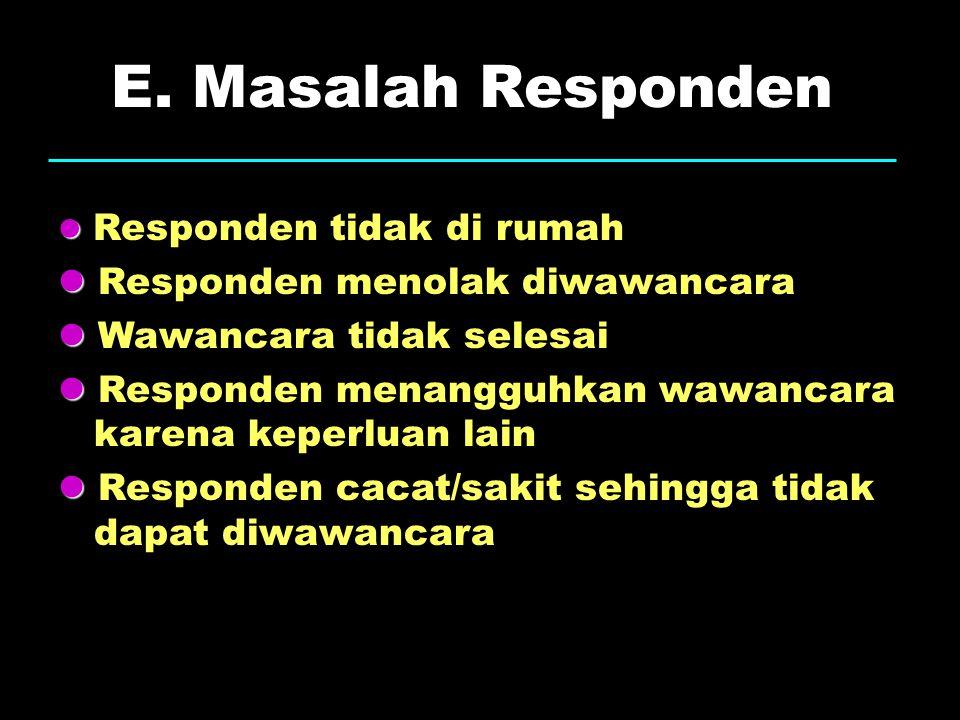 E. Masalah Responden  Responden menolak diwawancara
