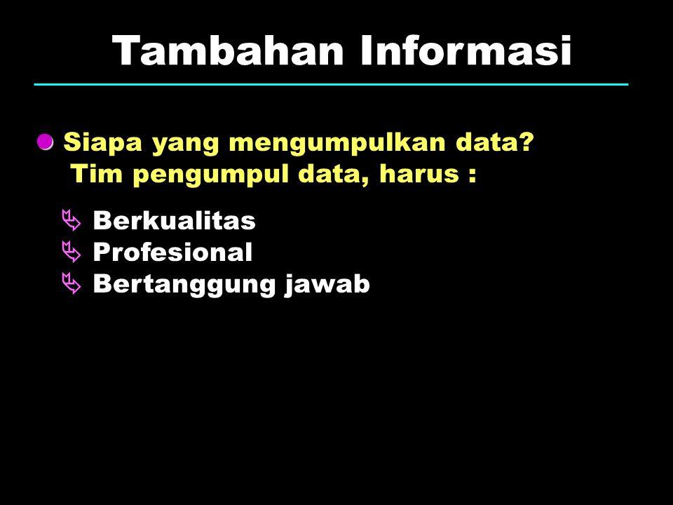 Tambahan Informasi  Siapa yang mengumpulkan data