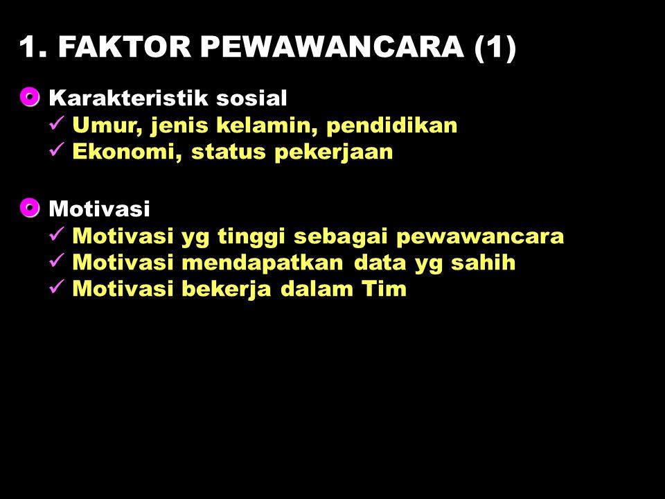 1. FAKTOR PEWAWANCARA (1)  Karakteristik sosial  Motivasi