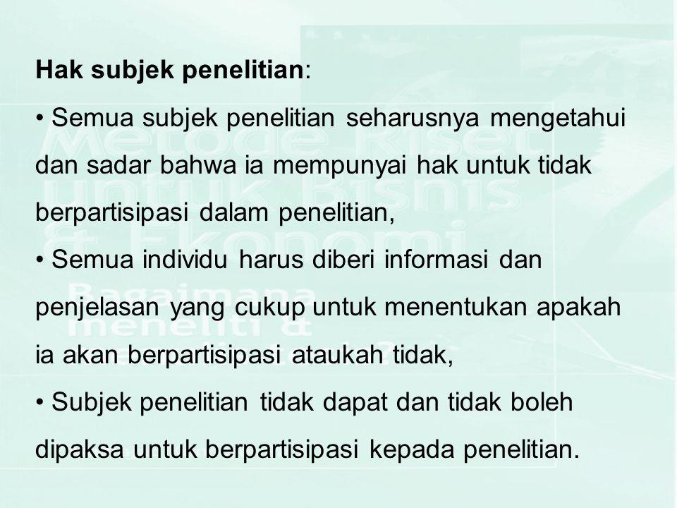 Hak subjek penelitian: