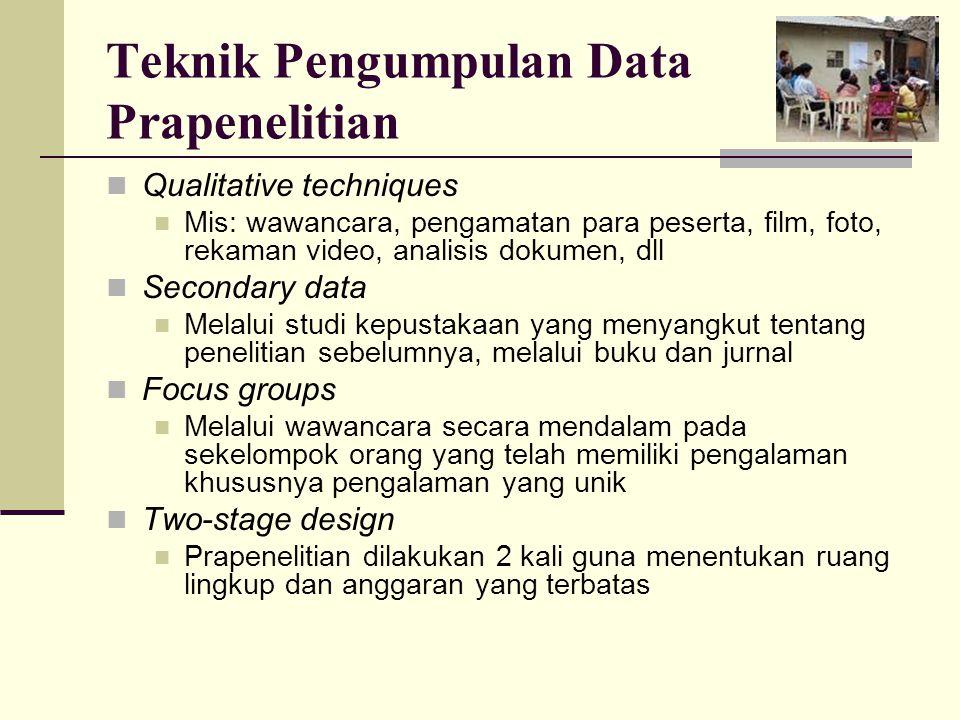 Teknik Pengumpulan Data Prapenelitian
