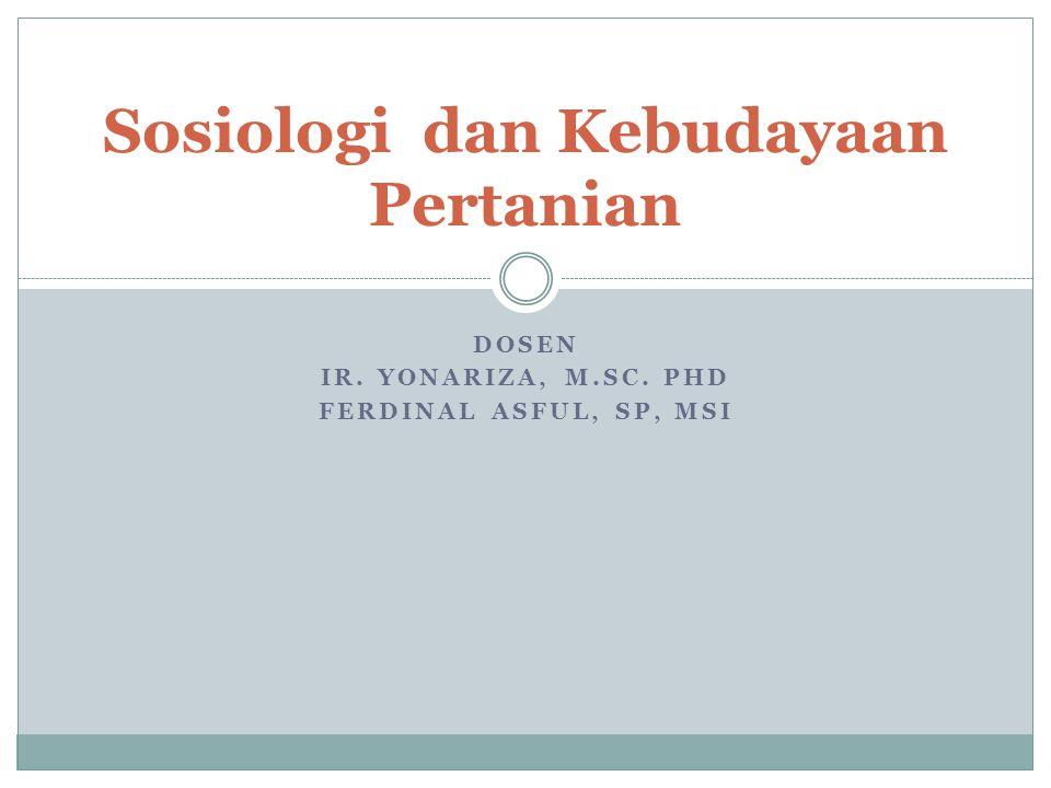 Sosiologi dan Kebudayaan Pertanian