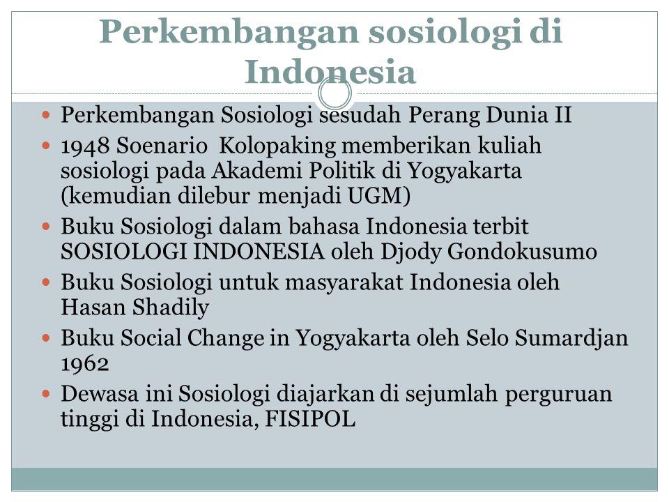 Perkembangan sosiologi di Indonesia