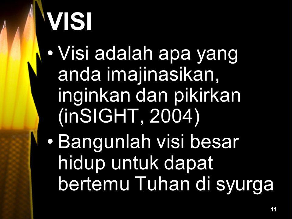 VISI Visi adalah apa yang anda imajinasikan, inginkan dan pikirkan (inSIGHT, 2004) Bangunlah visi besar hidup untuk dapat bertemu Tuhan di syurga.