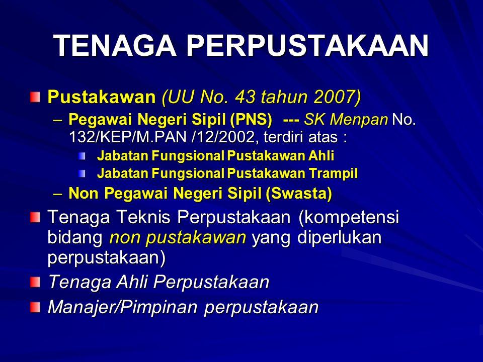TENAGA PERPUSTAKAAN Pustakawan (UU No. 43 tahun 2007)