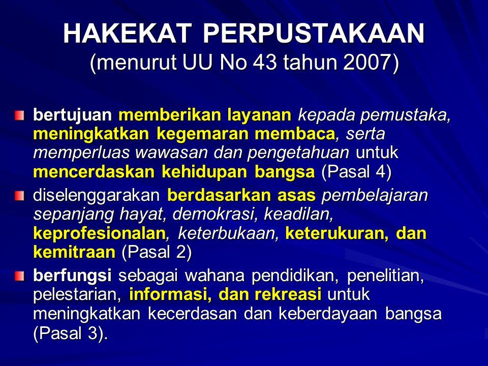 HAKEKAT PERPUSTAKAAN (menurut UU No 43 tahun 2007)