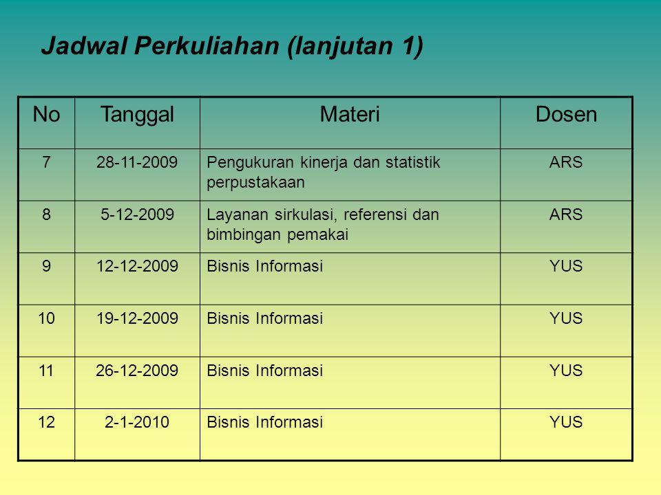 Jadwal Perkuliahan (lanjutan 1)