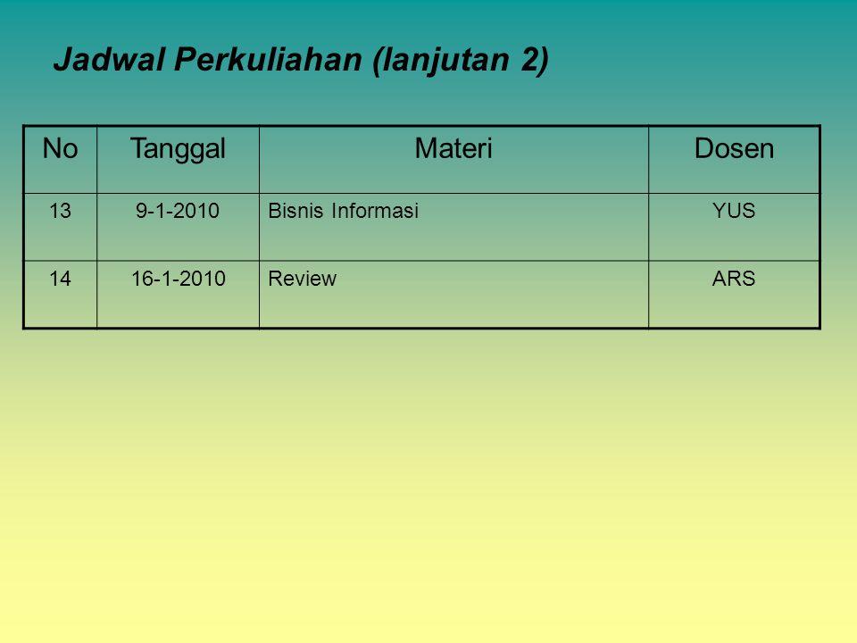Jadwal Perkuliahan (lanjutan 2)