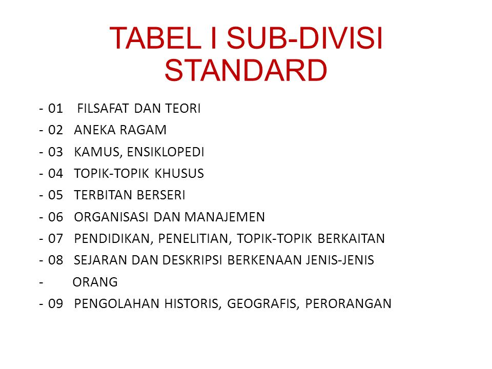 TABEL I SUB-DIVISI STANDARD
