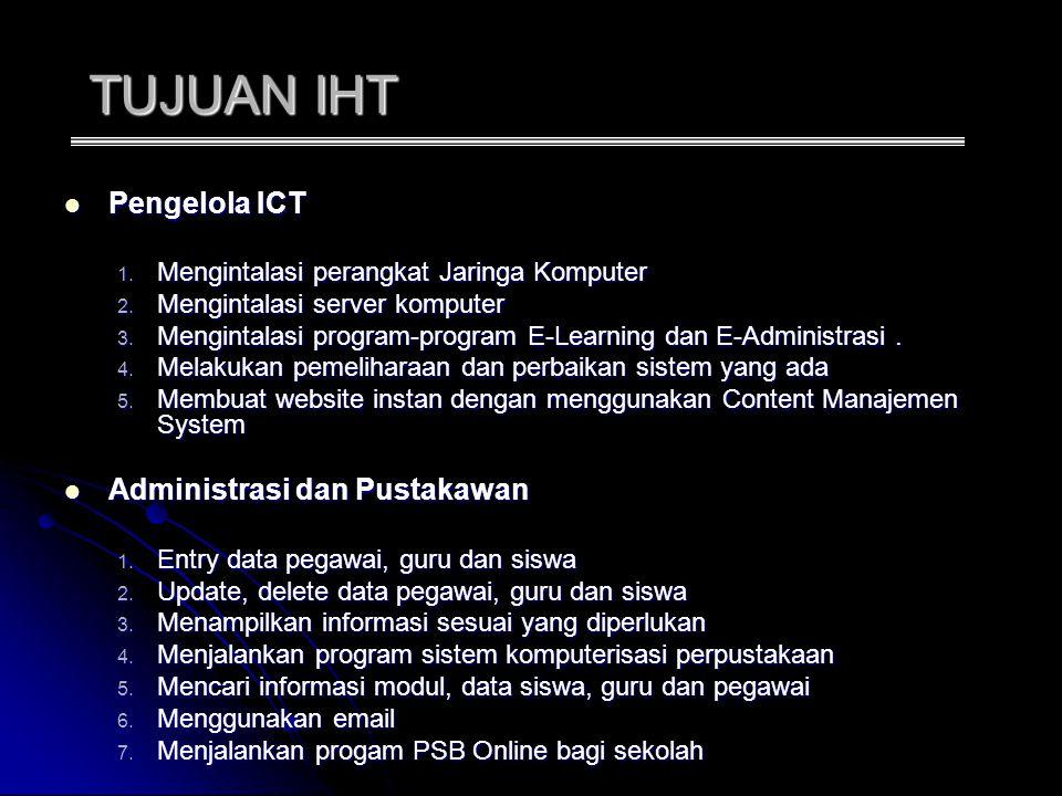 TUJUAN IHT Pengelola ICT Administrasi dan Pustakawan