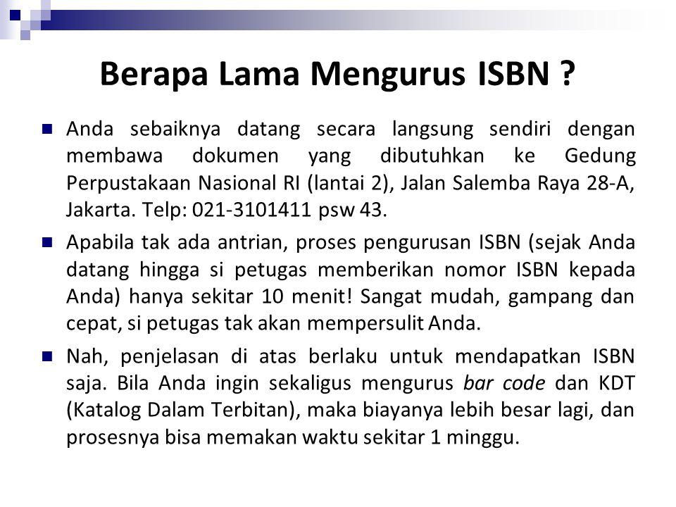 Berapa Lama Mengurus ISBN