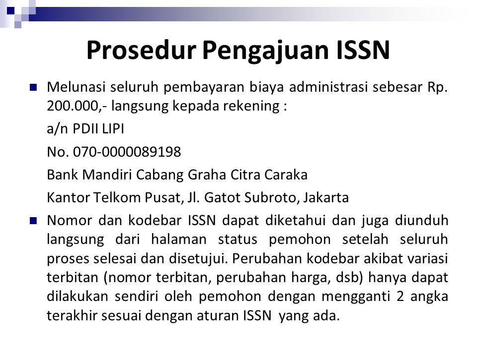 Prosedur Pengajuan ISSN