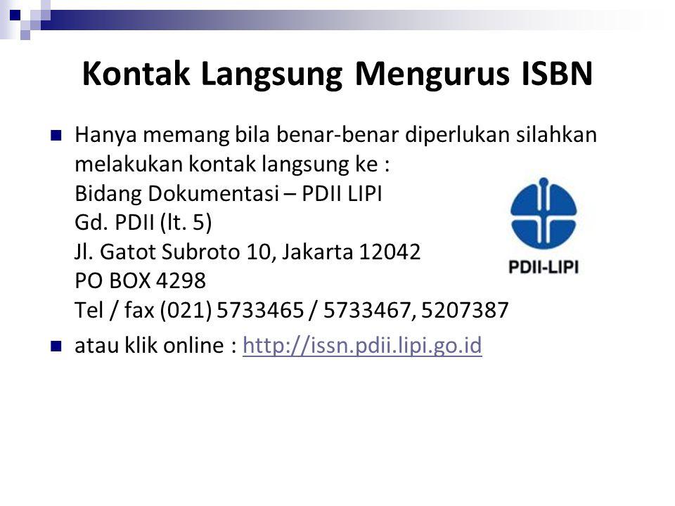 Kontak Langsung Mengurus ISBN