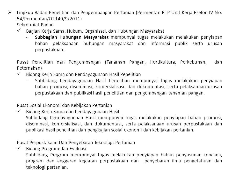 Lingkup Badan Penelitian dan Pengembangan Pertanian (Permentan RTP Unit Kerja Eselon IV No. 54/Permentan/OT.140/9/2011)