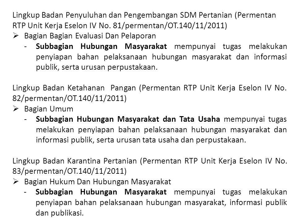 Lingkup Badan Penyuluhan dan Pengembangan SDM Pertanian (Permentan RTP Unit Kerja Eselon IV No. 81/permentan/OT.140/11/2011)