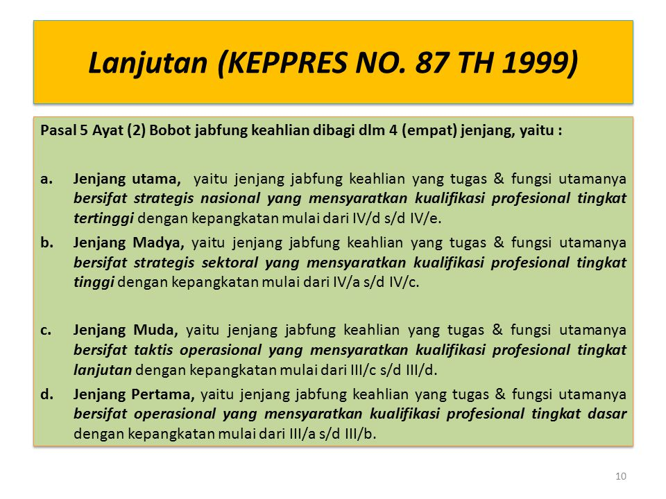 Lanjutan (KEPPRES NO. 87 TH 1999)