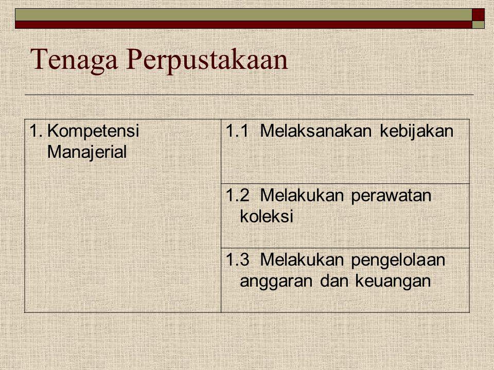 Tenaga Perpustakaan Kompetensi Manajerial 1.1 Melaksanakan kebijakan