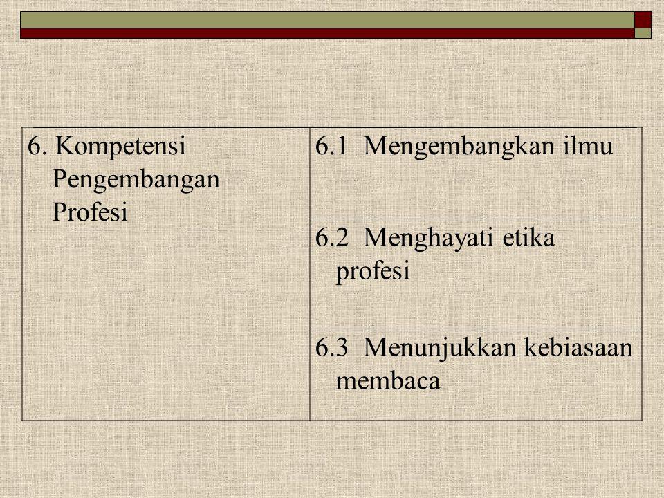 6. Kompetensi Pengembangan Profesi