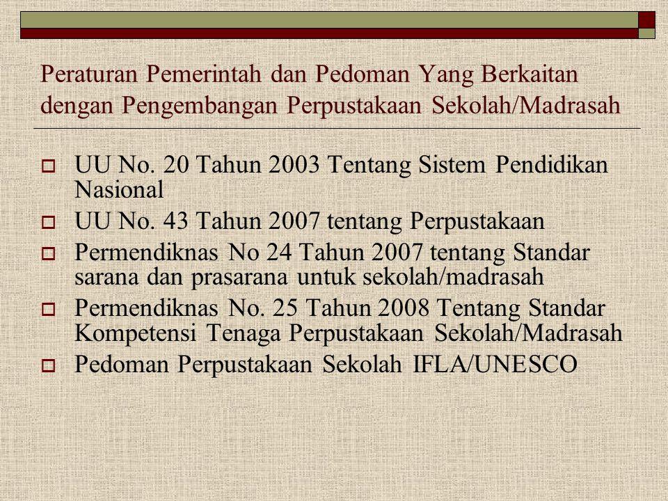 Peraturan Pemerintah dan Pedoman Yang Berkaitan dengan Pengembangan Perpustakaan Sekolah/Madrasah