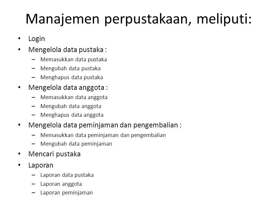 Manajemen perpustakaan, meliputi: