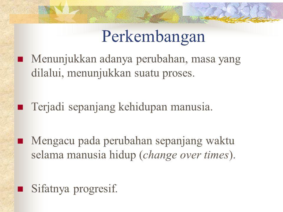 Perkembangan Menunjukkan adanya perubahan, masa yang dilalui, menunjukkan suatu proses. Terjadi sepanjang kehidupan manusia.