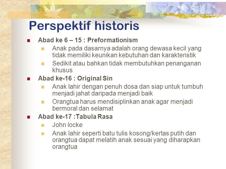 Perspektif historis Abad ke 6 – 15 : Preformationism