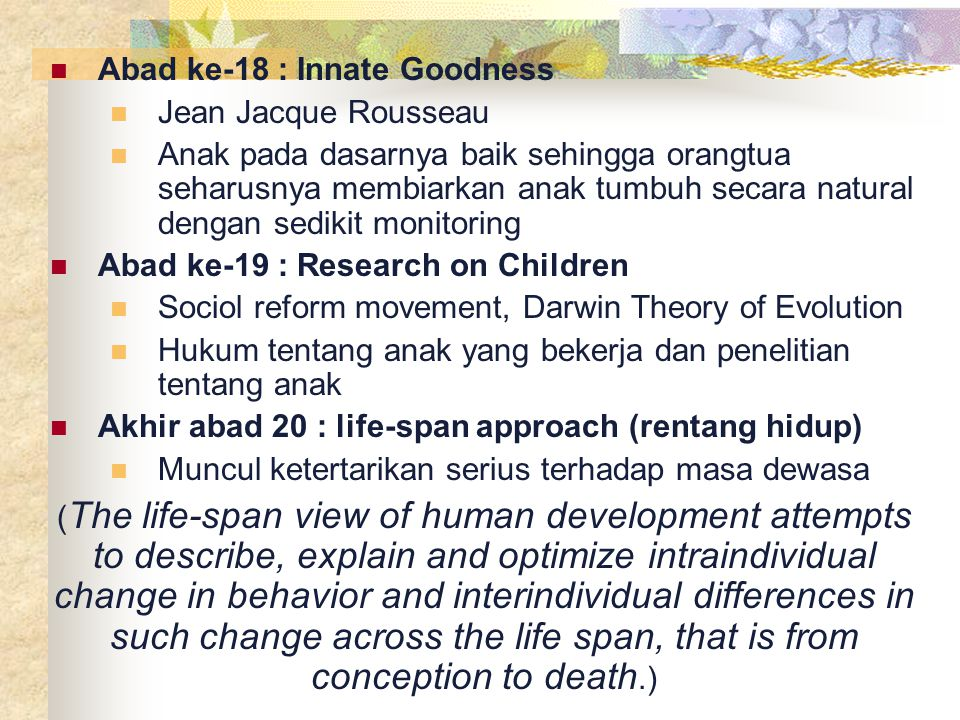 Abad ke-18 : Innate Goodness