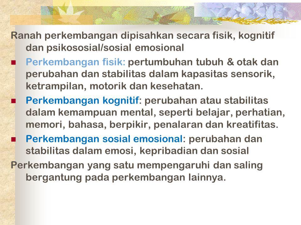 Ranah perkembangan dipisahkan secara fisik, kognitif dan psikososial/sosial emosional