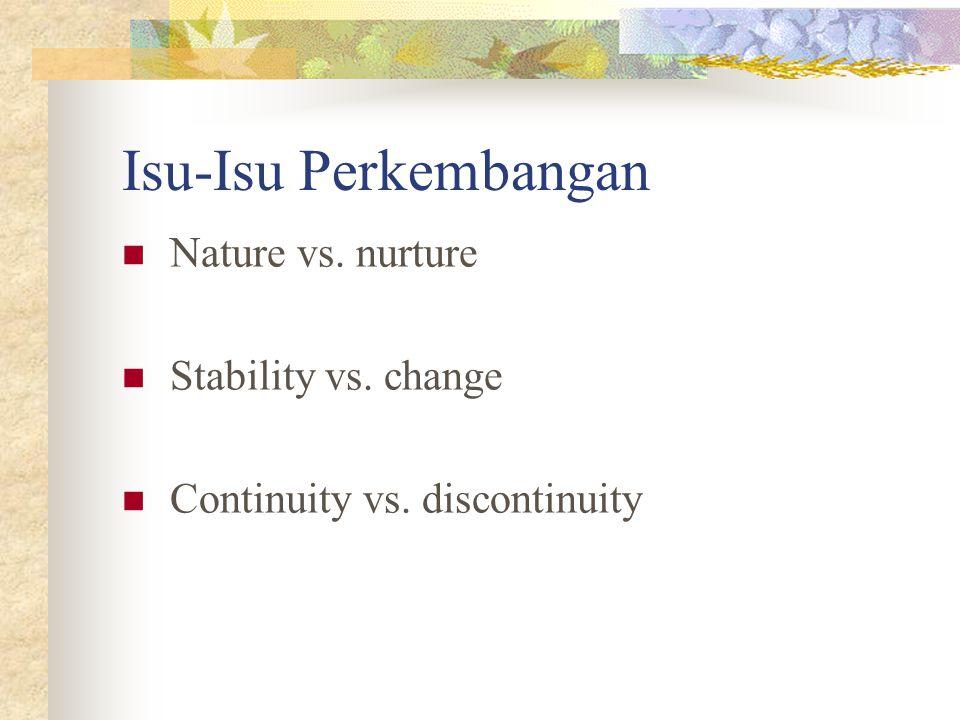 Isu-Isu Perkembangan Nature vs. nurture Stability vs. change
