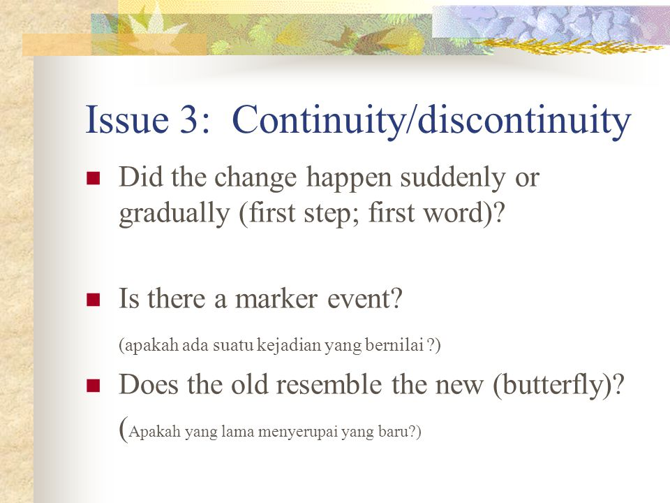 Issue 3: Continuity/discontinuity