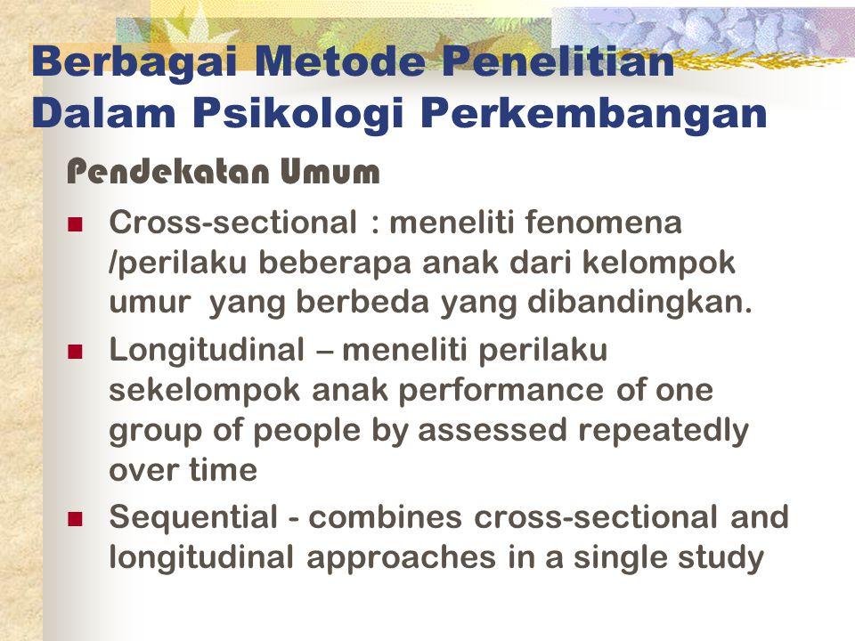Berbagai Metode Penelitian Dalam Psikologi Perkembangan