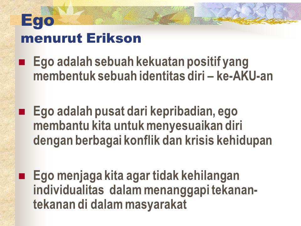 Ego menurut Erikson Ego adalah sebuah kekuatan positif yang membentuk sebuah identitas diri – ke-AKU-an.