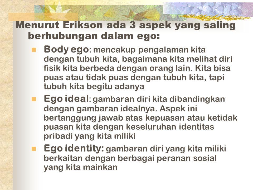 Menurut Erikson ada 3 aspek yang saling berhubungan dalam ego: