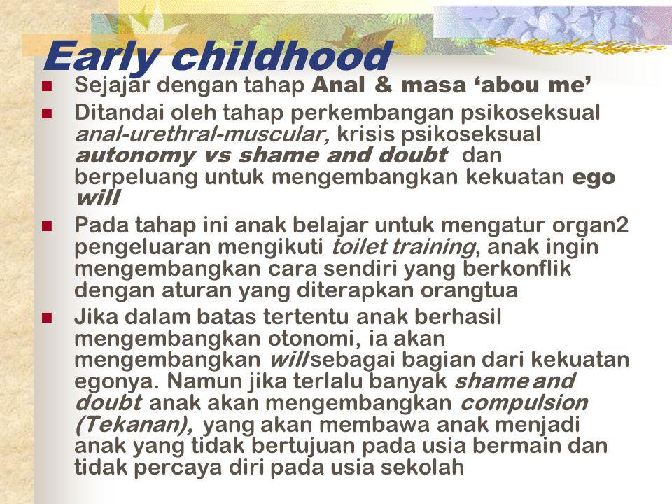 Early childhood Sejajar dengan tahap Anal & masa 'abou me'
