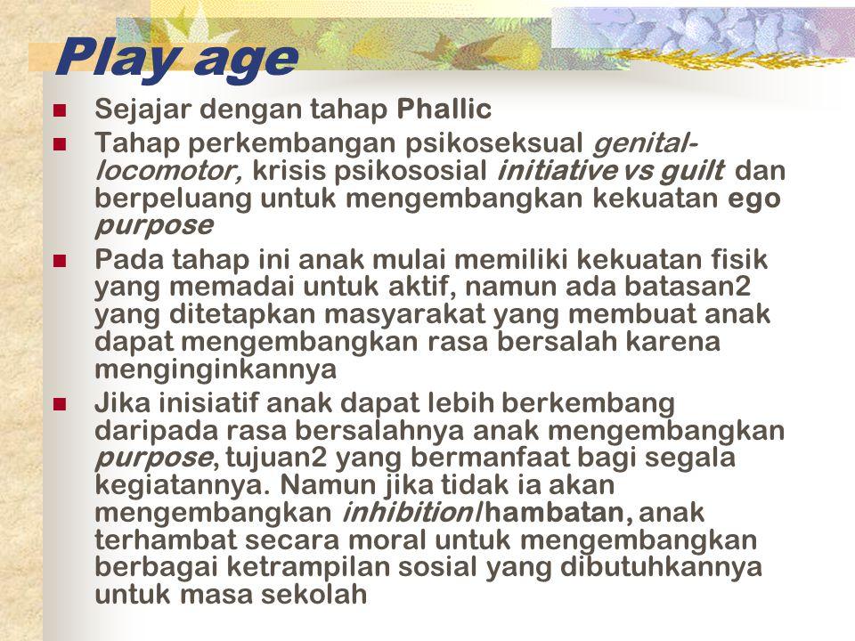 Play age Sejajar dengan tahap Phallic