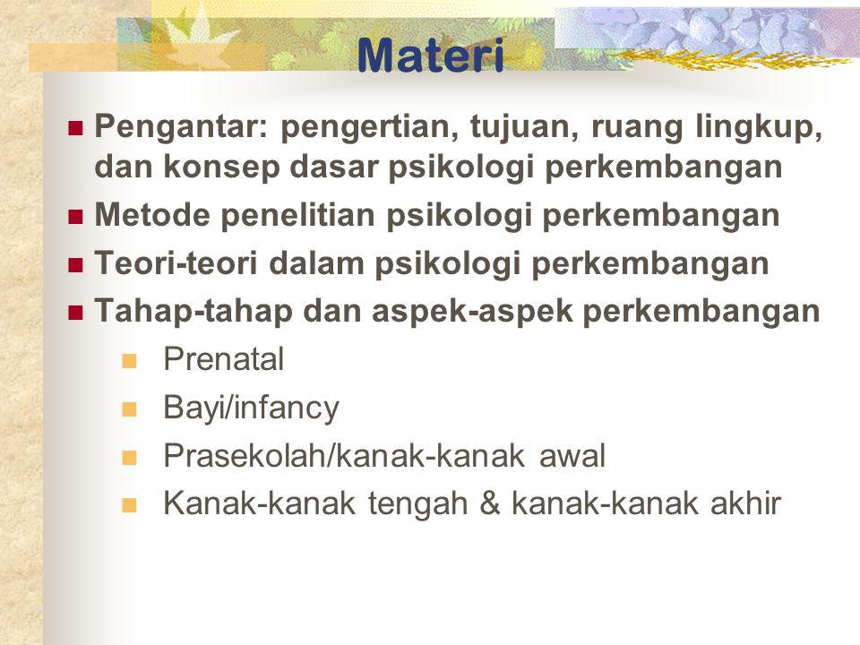 Materi Pengantar: pengertian, tujuan, ruang lingkup, dan konsep dasar psikologi perkembangan. Metode penelitian psikologi perkembangan.