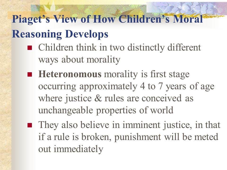 Piaget's View of How Children's Moral Reasoning Develops