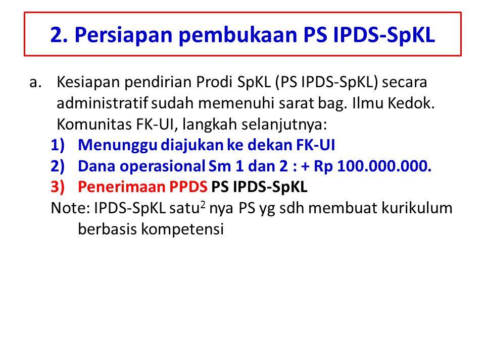2. Persiapan pembukaan PS IPDS-SpKL