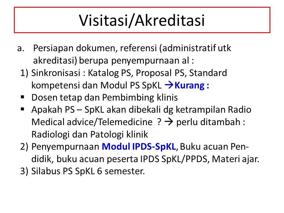 Visitasi/Akreditasi Persiapan dokumen, referensi (administratif utk akreditasi) berupa penyempurnaan al :