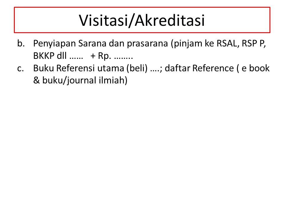 Visitasi/Akreditasi Penyiapan Sarana dan prasarana (pinjam ke RSAL, RSP P, BKKP dll …… + Rp. ……..