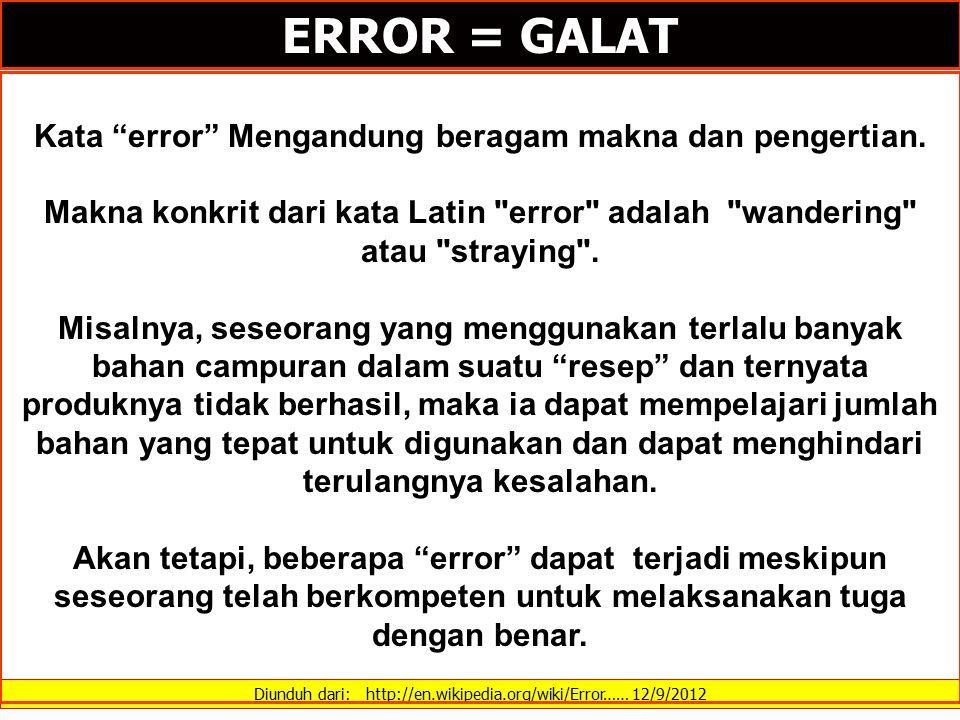 Kata error Mengandung beragam makna dan pengertian.