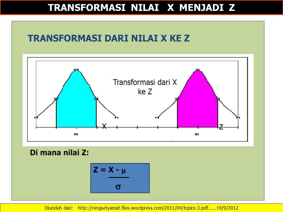 TRANSFORMASI NILAI X MENJADI Z
