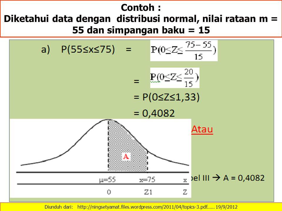 Contoh : Diketahui data dengan distribusi normal, nilai rataan m = 55 dan simpangan baku = 15.