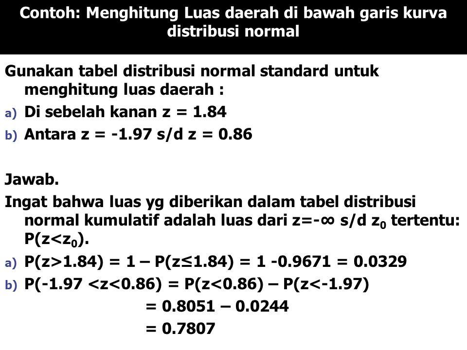 Contoh: Menghitung Luas daerah di bawah garis kurva distribusi normal
