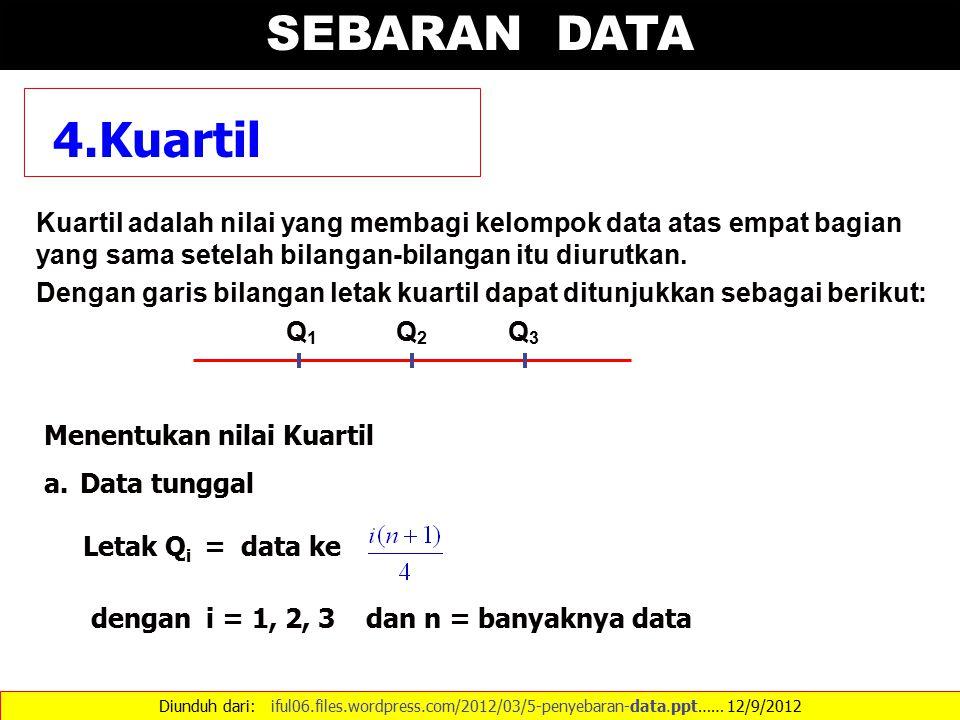 SEBARAN DATA 4.Kuartil. Kuartil adalah nilai yang membagi kelompok data atas empat bagian yang sama setelah bilangan-bilangan itu diurutkan.