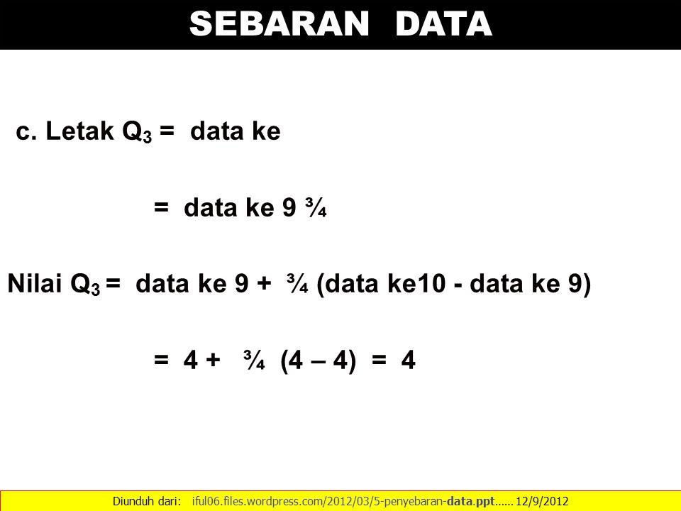 SEBARAN DATA c. Letak Q3 = data ke = data ke 9 ¾