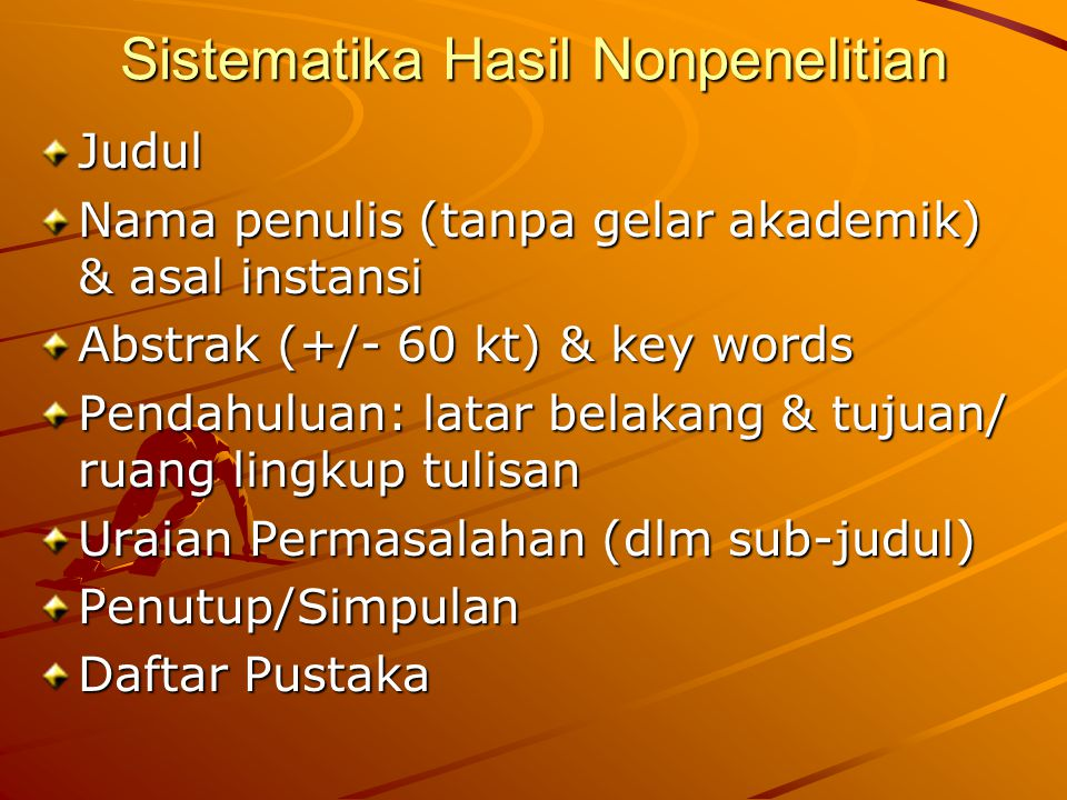 Sistematika Hasil Nonpenelitian
